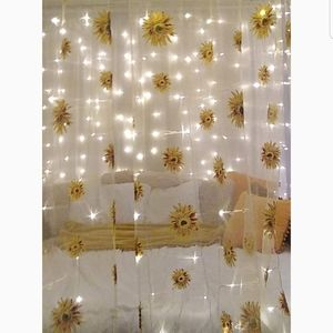 Sheer Sunflower Curtain Panels Bed Canapy Magic